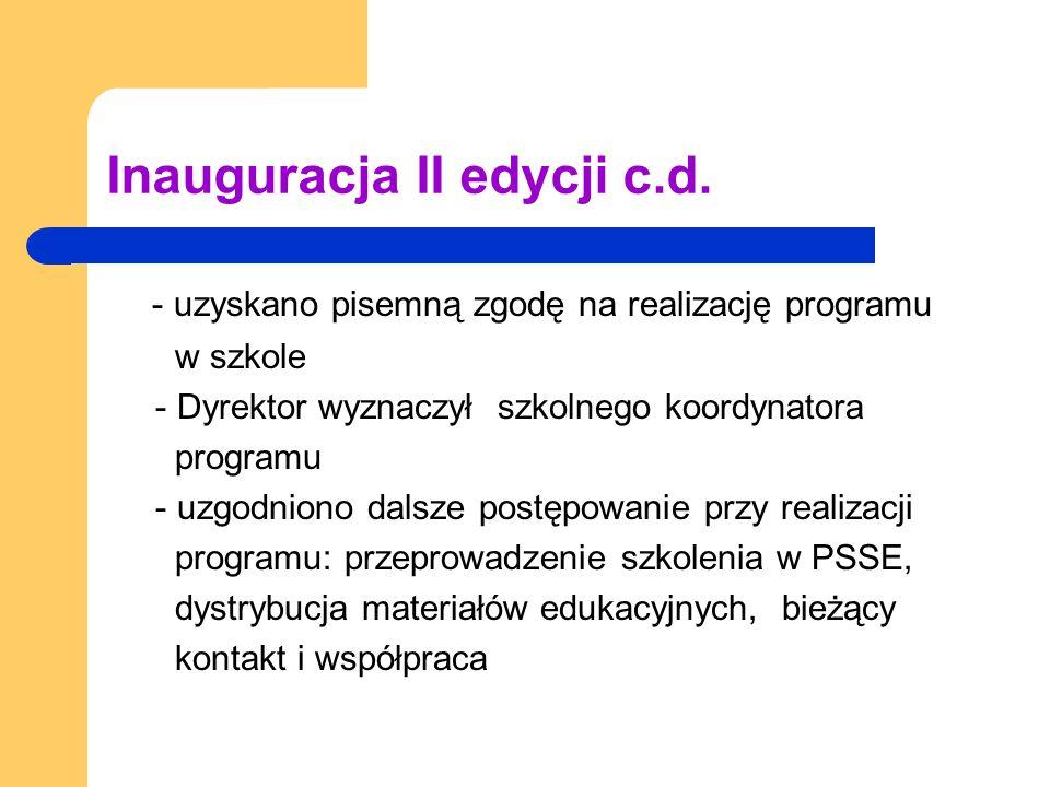 Inauguracja II edycji c.d. - uzyskano pisemną zgodę na realizację programu w szkole - Dyrektor wyznaczył szkolnego koordynatora programu - uzgodniono