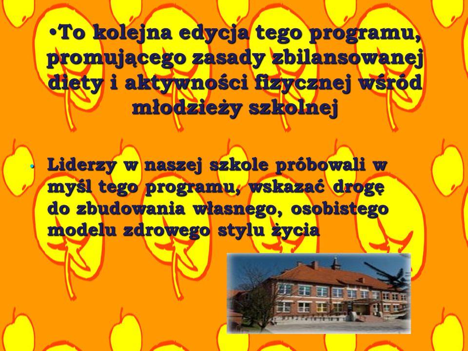 To kolejna edycja tego programu, promującego zasady zbilansowanej diety i aktywności fizycznej wśród młodzieży szkolnej To kolejna edycja tego program