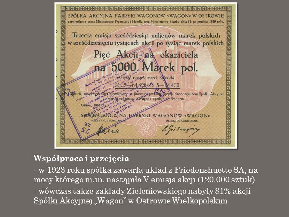 Współpraca i przejęcia - w 1923 roku spółka zawarła układ z Friedenshuette SA, na mocy którego m.in. nastąpiła V emisja akcji (120.000 sztuk) - wówcza