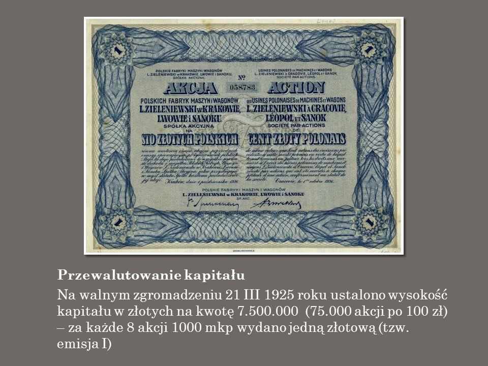 Przewalutowanie kapitału Na walnym zgromadzeniu 21 III 1925 roku ustalono wysokość kapitału w złotych na kwotę 7.500.000 (75.000 akcji po 100 zł) – za