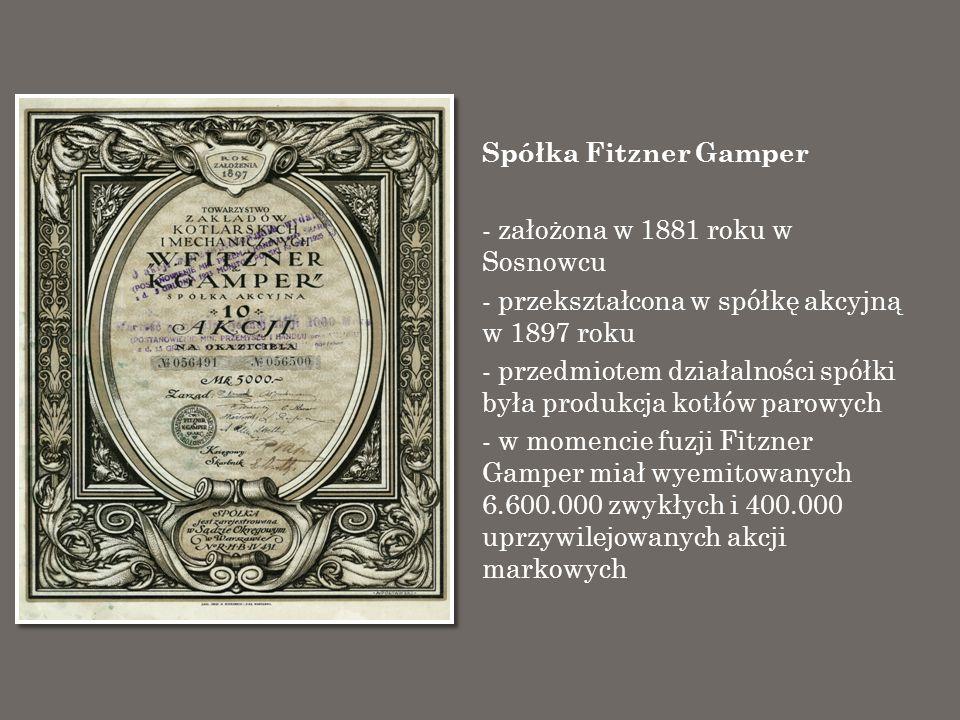 Spółka Fitzner Gamper - założona w 1881 roku w Sosnowcu - przekształcona w spółkę akcyjną w 1897 roku - przedmiotem działalności spółki była produkcja