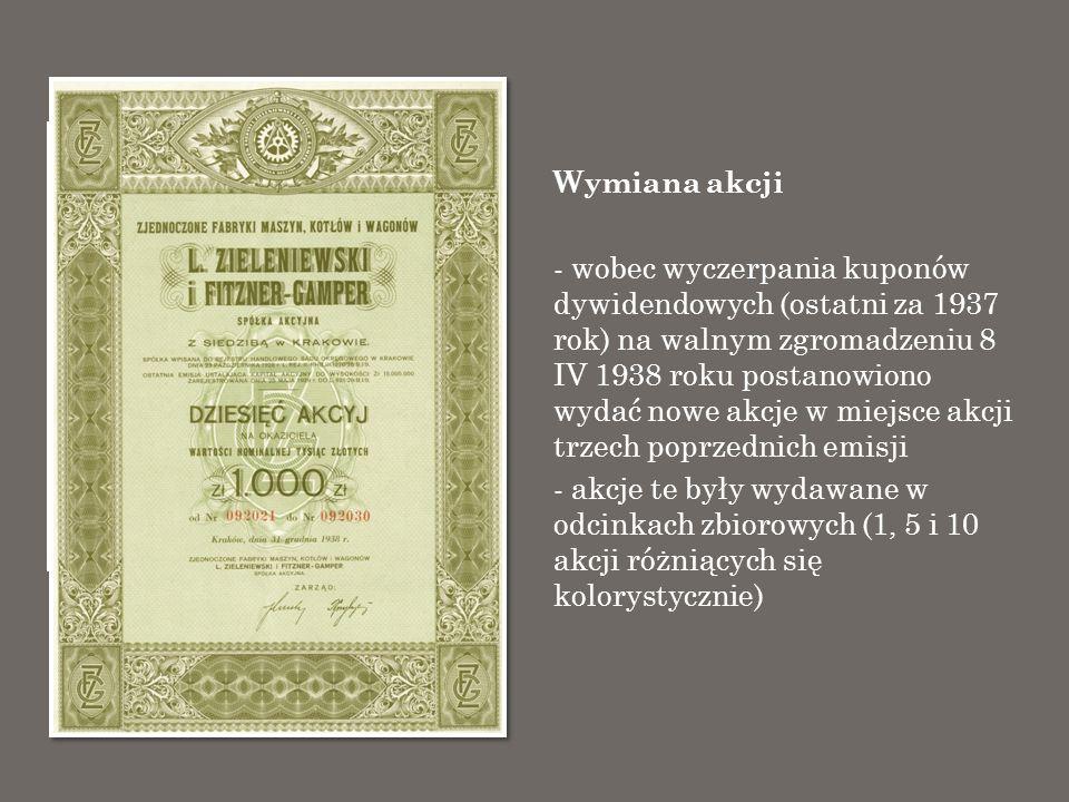 Wymiana akcji - wobec wyczerpania kuponów dywidendowych (ostatni za 1937 rok) na walnym zgromadzeniu 8 IV 1938 roku postanowiono wydać nowe akcje w mi