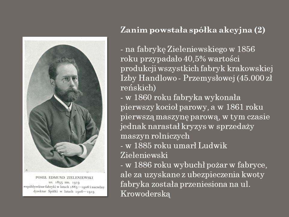 Zanim powstała spółka akcyjna (2) - na fabrykę Zieleniewskiego w 1856 roku przypadało 40,5% wartości produkcji wszystkich fabryk krakowskiej Izby Hand