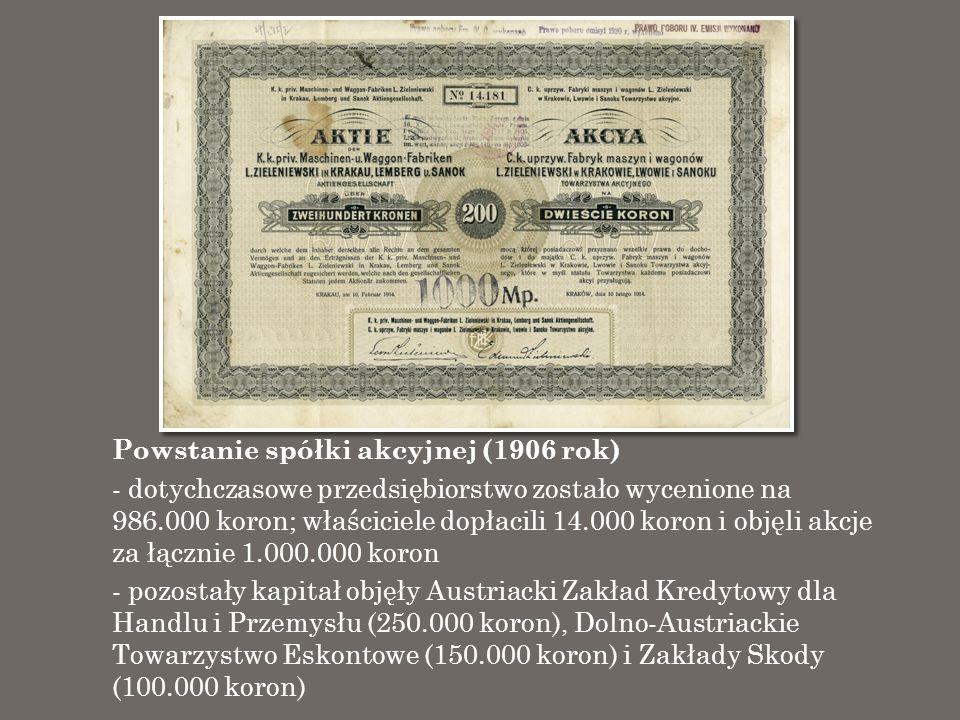 Powstanie spółki akcyjnej (1906 rok) - dotychczasowe przedsiębiorstwo zostało wycenione na 986.000 koron; właściciele dopłacili 14.000 koron i objęli