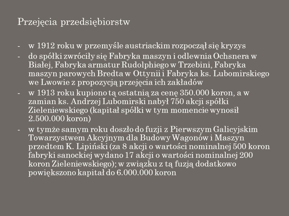 Przejęcia przedsiębiorstw -w 1912 roku w przemyśle austriackim rozpoczął się kryzys -do spółki zwróciły się Fabryka maszyn i odlewnia Ochsnera w Białe