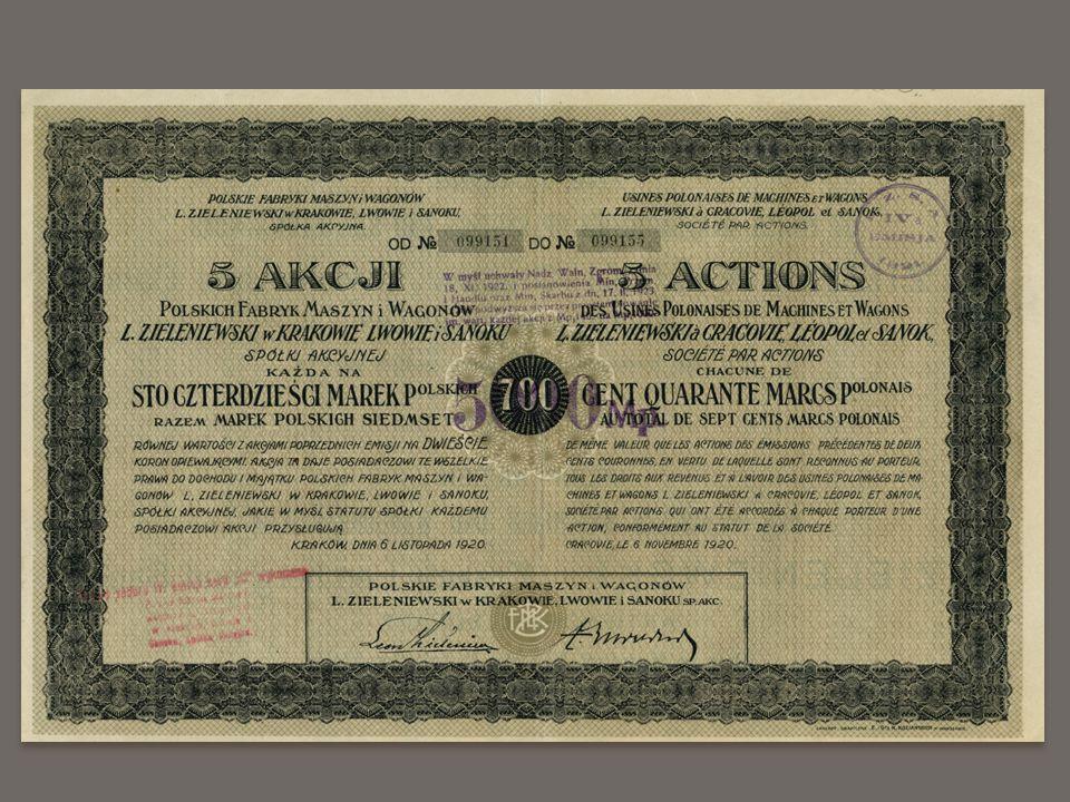 Odbudowa potencjału fabryki po I wojnie światowej -w latach szybkiego narastania inflacji, a z nią koniunktury gospodarczej, możliwe stało się szybkie odbudowywanie przemysłu w Polsce -fabryka w Krakowie otrzymywała szczególnie dużo zamówień na kotły przemysłowe ze strony przemysłu naftowego, natomiast fabryka sanocka otrzymała zamówienia na wagony kolejowe -powyższe spowodowało konieczność znalezienia finansowania działalności – typowym rozwiązaniem tamtego okresu były częste emisje akcji (6 wrzesień 1919 roku do 8.000.000 koron – II emisja, 28 czerwiec 1920 roku do kwoty 11.200.000 mkp – III emisja oraz IV emisja (5 luty 1921 roku) podzielona na trzy części do łącznej kwoty 67.200.000 mkp.
