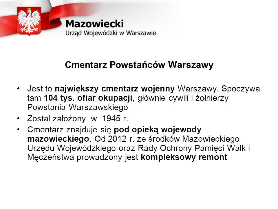 Uczestnicy projektu Prace w obrębie cmentarza: Wojewoda Mazowiecki – 2,2 mln zł Rada Ochrony Pamięci Walk i Męczeństwa – 2,5 mln zł Zarząd Cmentarzy Komunalnych w Warszawie – wykonawstwo Prace w otoczeniu cmentarza: Urząd m.st.
