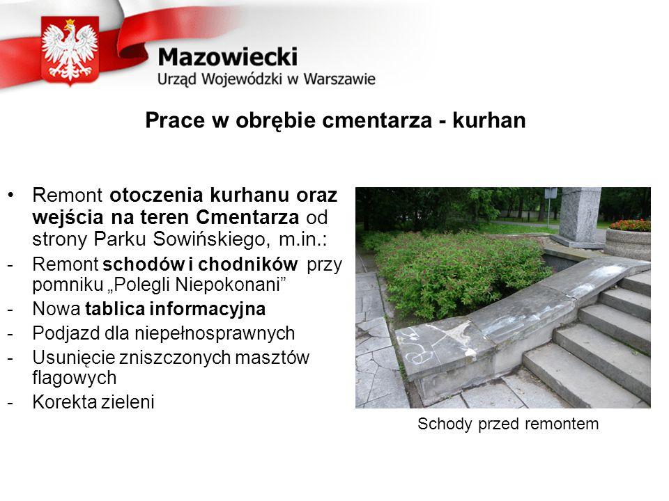 Pozostałe prace w obrębie cmentarza Wyeksponowanie głównej wizualnej osi cmentarza przez odpowiednie ukształtowanie drzewostanu Urządzenie strefy wejścia na cmentarz od strony ul.