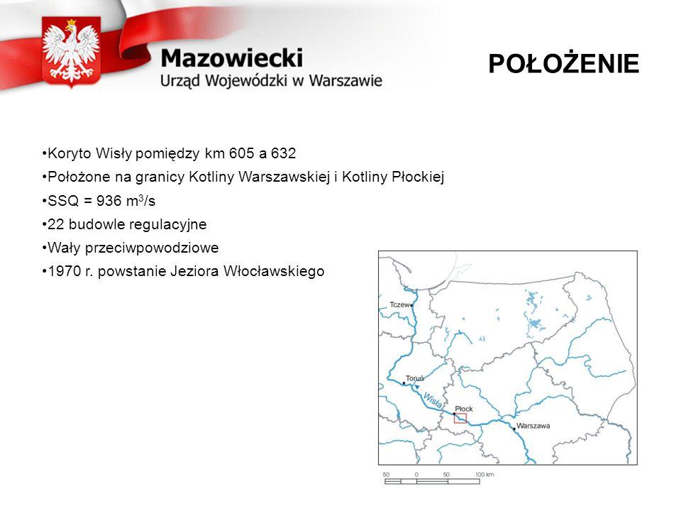 POŁOŻENIE Koryto Wisły pomiędzy km 605 a 632 Położone na granicy Kotliny Warszawskiej i Kotliny Płockiej SSQ = 936 m 3 /s 22 budowle regulacyjne Wały przeciwpowodziowe 1970 r.