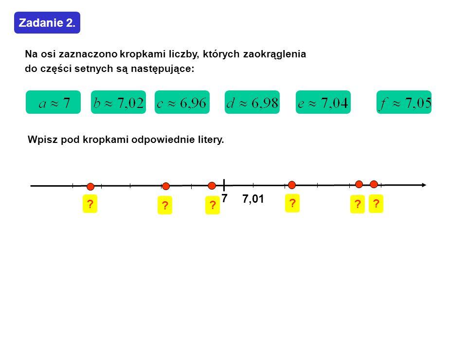 Wpisz pod kropkami odpowiednie litery. 7 7,01 Zadanie 2. Na osi zaznaczono kropkami liczby, których zaokrąglenia do części setnych są następujące: ? ?