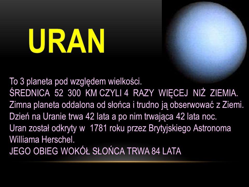 To 3 planeta pod względem wielkości.ŚREDNICA 52 300 KM CZYLI 4 RAZY WIĘCEJ NIŻ ZIEMIA.