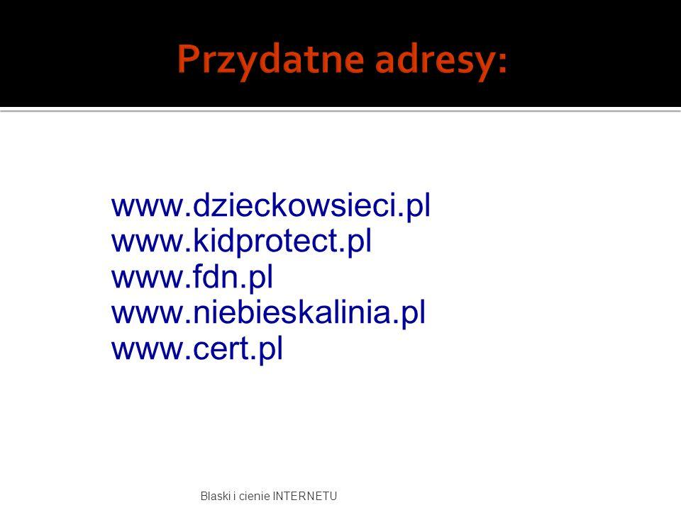www.dzieckowsieci.pl www.kidprotect.pl www.fdn.pl www.niebieskalinia.pl www.cert.pl Blaski i cienie INTERNETU