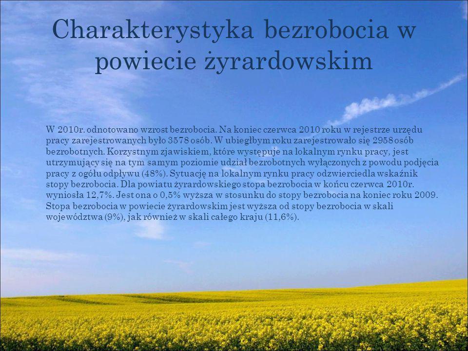 Charakterystyka bezrobocia w powiecie żyrardowskim W 2010r.