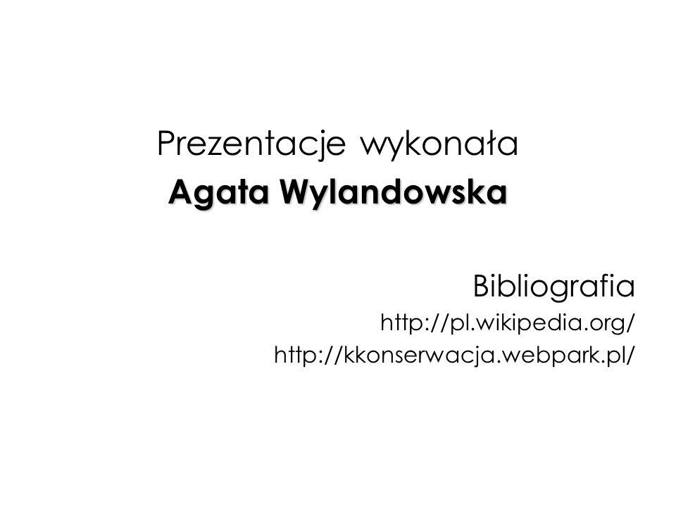 Prezentacje wykonała Agata Wylandowska Bibliografia http://pl.wikipedia.org/ http://kkonserwacja.webpark.pl/