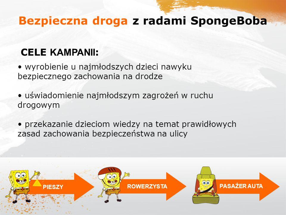 PIESZYROWERZYSTA PASAŻER AUTA Bezpieczna droga z radami SpongeBoba wyrobienie u najmłodszych dzieci nawyku bezpiecznego zachowania na drodze uświadomi