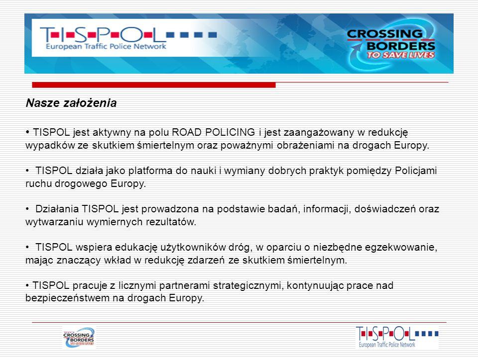 Nasze założenia TISPOL jest aktywny na polu ROAD POLICING i jest zaangażowany w redukcję wypadków ze skutkiem śmiertelnym oraz poważnymi obrażeniami na drogach Europy.