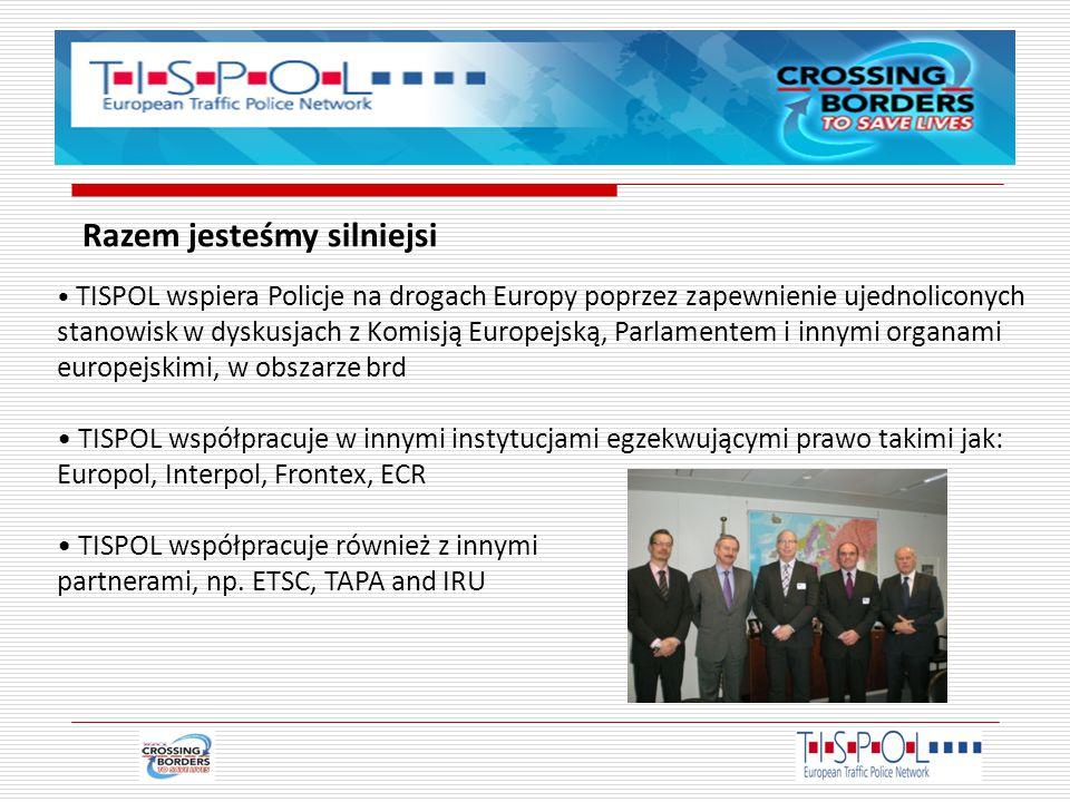 TISPOL wspiera Policje na drogach Europy poprzez zapewnienie ujednoliconych stanowisk w dyskusjach z Komisją Europejską, Parlamentem i innymi organami europejskimi, w obszarze brd TISPOL współpracuje w innymi instytucjami egzekwującymi prawo takimi jak: Europol, Interpol, Frontex, ECR TISPOL współpracuje również z innymi partnerami, np.