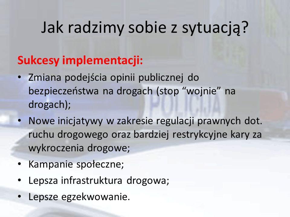 """Jak radzimy sobie z sytuacją? Sukcesy implementacji: Zmiana podejścia opinii publicznej do bezpieczeństwa na drogach (stop """"wojnie"""" na drogach); Nowe"""
