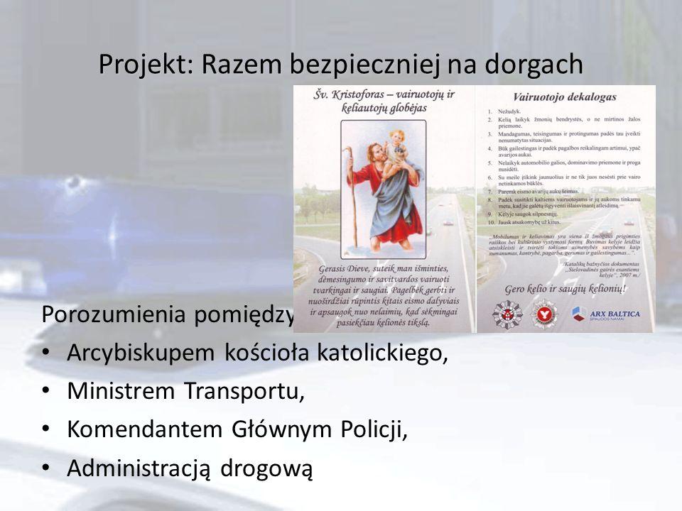Projekt: Razem bezpieczniej na dorgach Porozumienia pomiędzy: Arcybiskupem kościoła katolickiego, Ministrem Transportu, Komendantem Głównym Policji, Administracją drogową