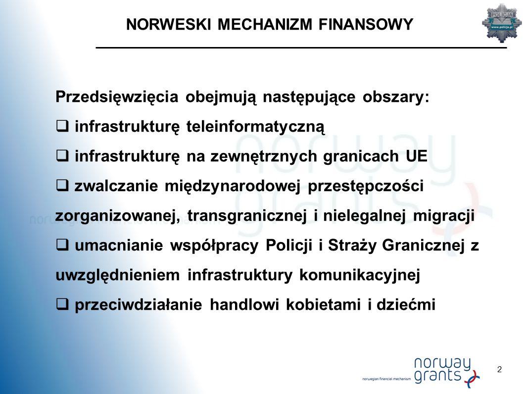 2 NORWESKI MECHANIZM FINANSOWY Przedsięwzięcia obejmują następujące obszary:  infrastrukturę teleinformatyczną  infrastrukturę na zewnętrznych granicach UE  zwalczanie międzynarodowej przestępczości zorganizowanej, transgranicznej i nielegalnej migracji  umacnianie współpracy Policji i Straży Granicznej z uwzględnieniem infrastruktury komunikacyjnej  przeciwdziałanie handlowi kobietami i dziećmi