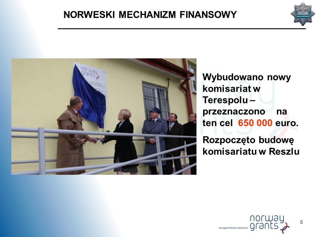 5 NORWESKI MECHANIZM FINANSOWY Wybudowano nowy komisariat w Terespolu – przeznaczono na ten cel 650 000 euro.