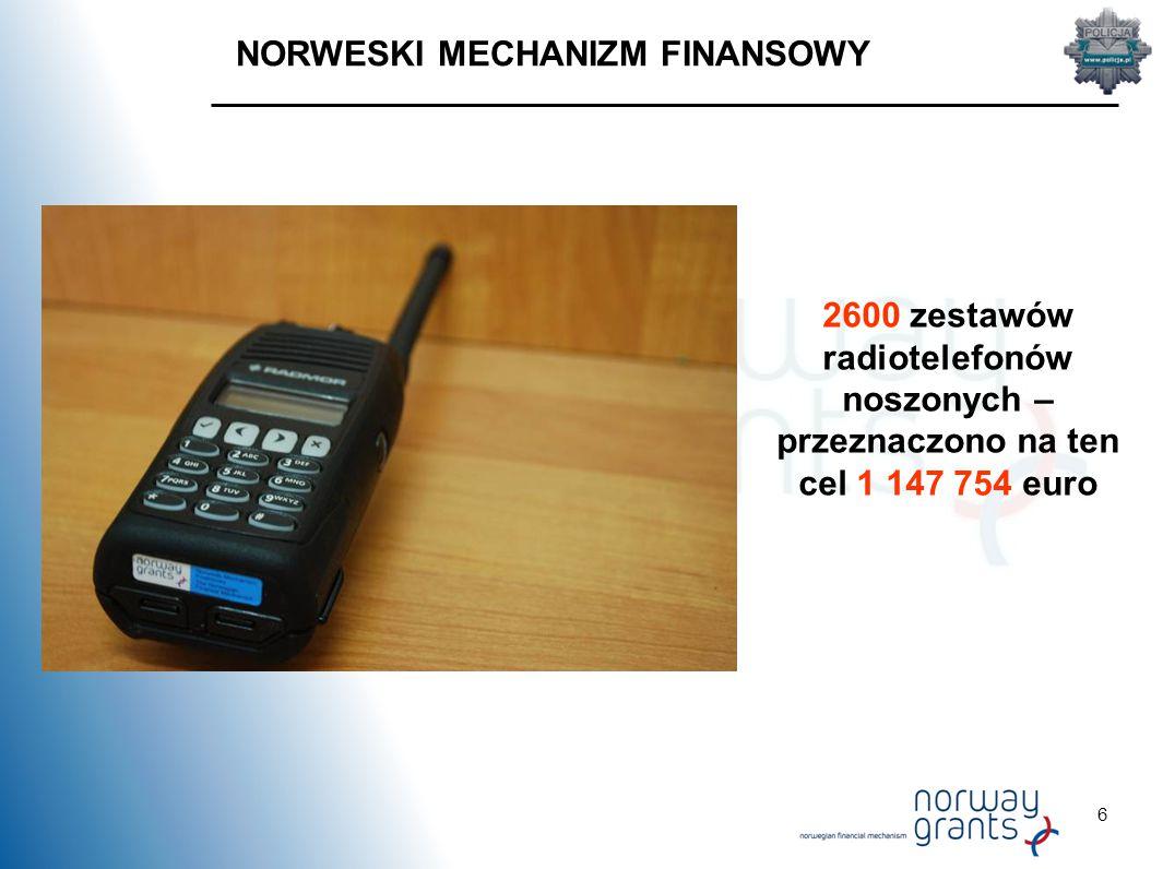 6 NORWESKI MECHANIZM FINANSOWY 2600 zestawów radiotelefonów noszonych – przeznaczono na ten cel 1 147 754 euro