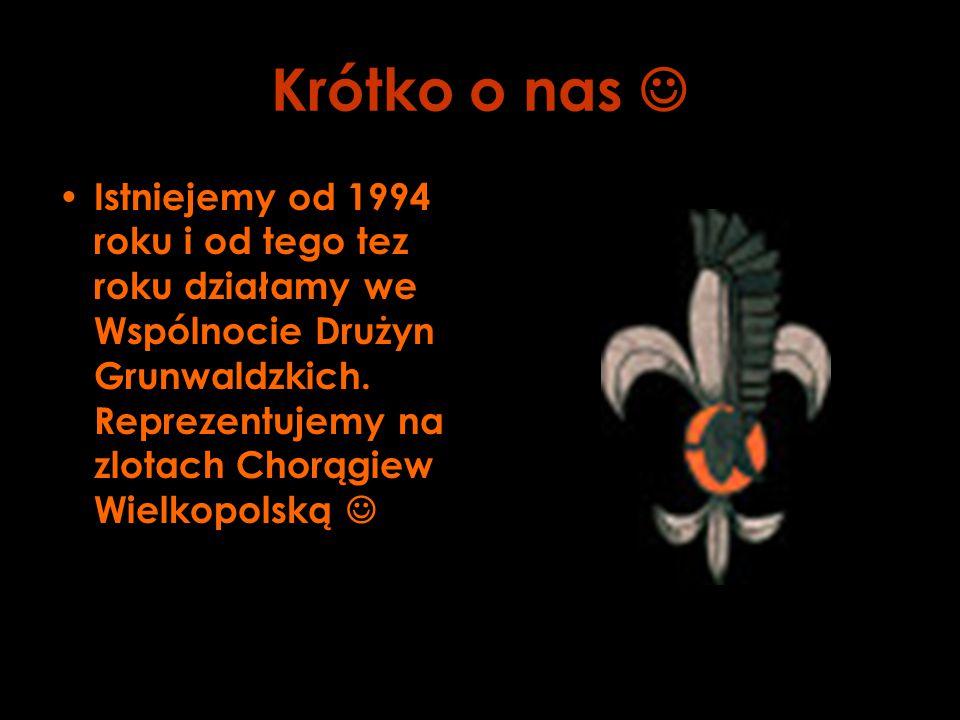 Krótko o nas Istniejemy od 1994 roku i od tego tez roku działamy we Wspólnocie Drużyn Grunwaldzkich. Reprezentujemy na zlotach Chorągiew Wielkopolską