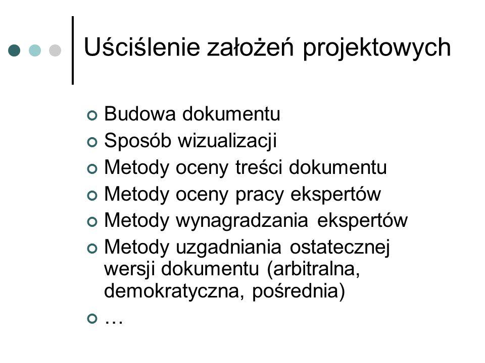 Uściślenie założeń projektowych Budowa dokumentu Sposób wizualizacji Metody oceny treści dokumentu Metody oceny pracy ekspertów Metody wynagradzania e