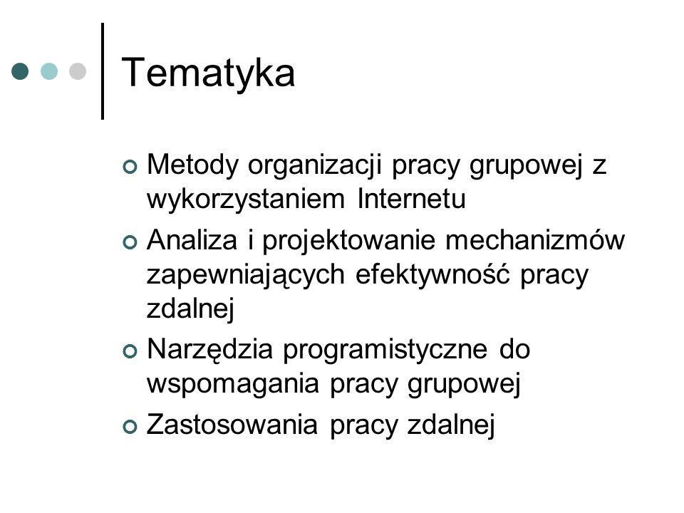 Tematyka Metody organizacji pracy grupowej z wykorzystaniem Internetu Analiza i projektowanie mechanizmów zapewniających efektywność pracy zdalnej Nar