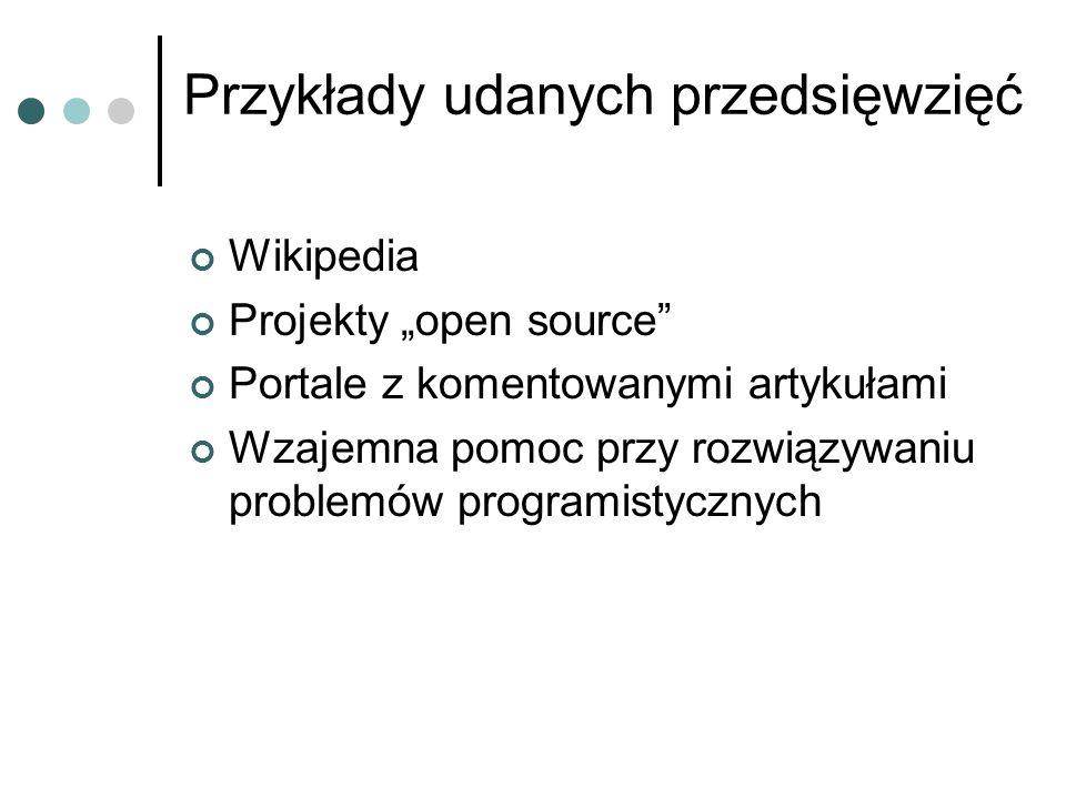 """Przykłady udanych przedsięwzięć Wikipedia Projekty """"open source"""" Portale z komentowanymi artykułami Wzajemna pomoc przy rozwiązywaniu problemów progra"""
