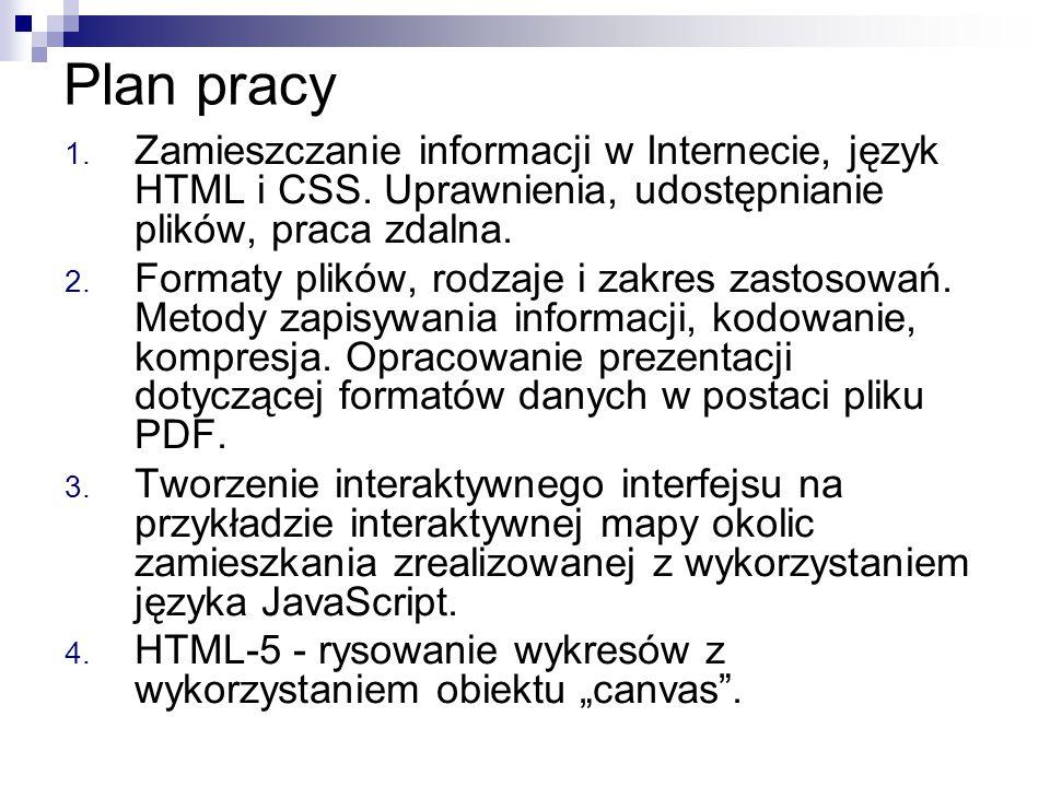 Plan pracy 1. Zamieszczanie informacji w Internecie, język HTML i CSS. Uprawnienia, udostępnianie plików, praca zdalna. 2. Formaty plików, rodzaje i z