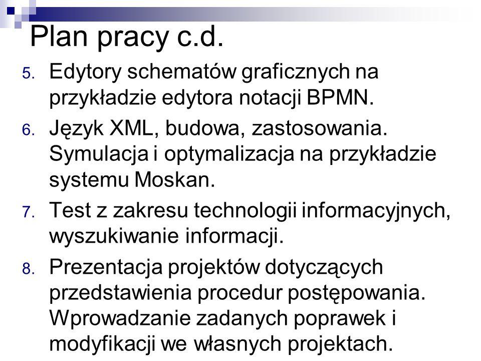 Plan pracy c.d. 5. Edytory schematów graficznych na przykładzie edytora notacji BPMN. 6. Język XML, budowa, zastosowania. Symulacja i optymalizacja na