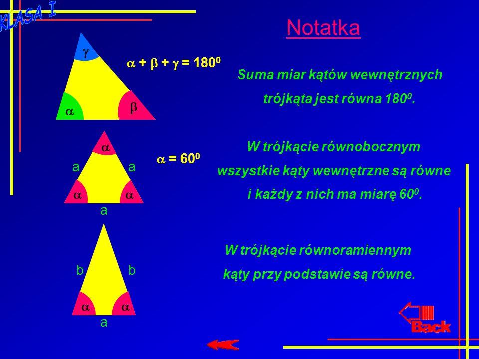 Notatka   +  +  = 180 0 Suma miar kątów wewnętrznych trójkąta jest równa 180 0.