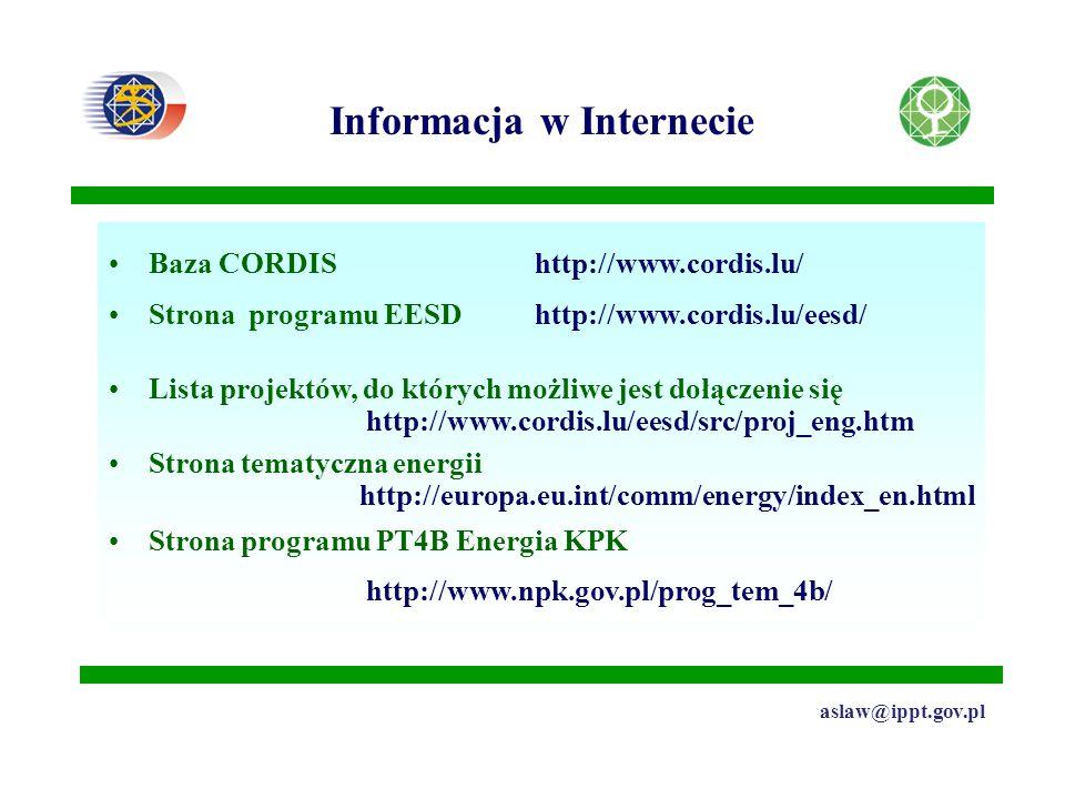 Informacja w Internecie aslaw@ippt.gov.pl Baza CORDIShttp://www.cordis.lu/ Strona programu EESD http://www.cordis.lu/eesd/ Lista projektów, do których możliwe jest dołączenie się http://www.cordis.lu/eesd/src/proj_eng.htm Strona tematyczna energii http://europa.eu.int/comm/energy/index_en.html Strona programu PT4B Energia KPK http://www.npk.gov.pl/prog_tem_4b/