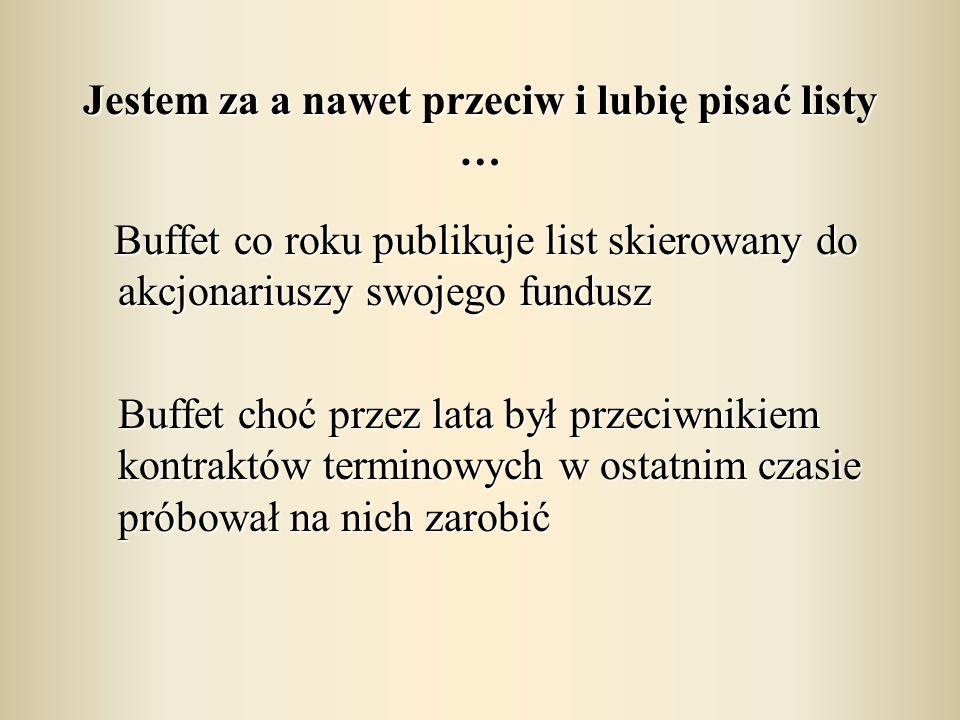 Jestem za a nawet przeciw i lubię pisać listy … Buffet co roku publikuje list skierowany do akcjonariuszy swojego fundusz Buffet co roku publikuje lis