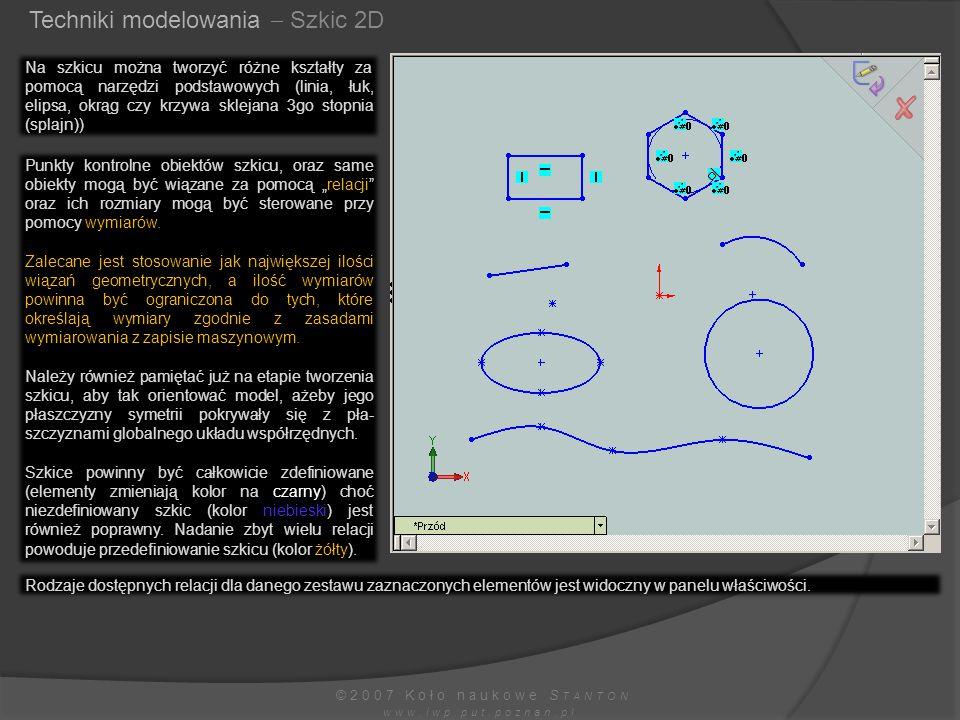 Techniki modelowania  Szkic 2D ©2007 Koło naukowe S TANTON www.iwp.put.poznan.pl Na szkicu można tworzyć różne kształty za pomocą narzędzi podstawowy