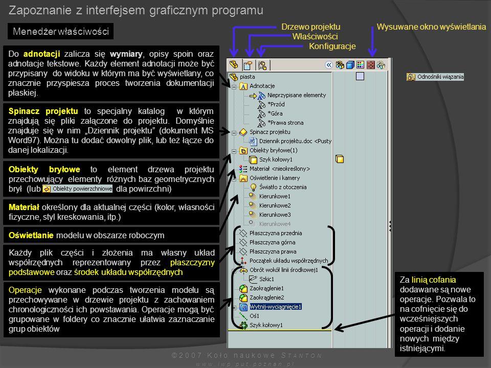 Menedżer właściwości Zapoznanie z interfejsem graficznym programu ©2007 Koło naukowe S TANTON www.iwp.put.poznan.pl Drzewo projektu Właściwości Konfig