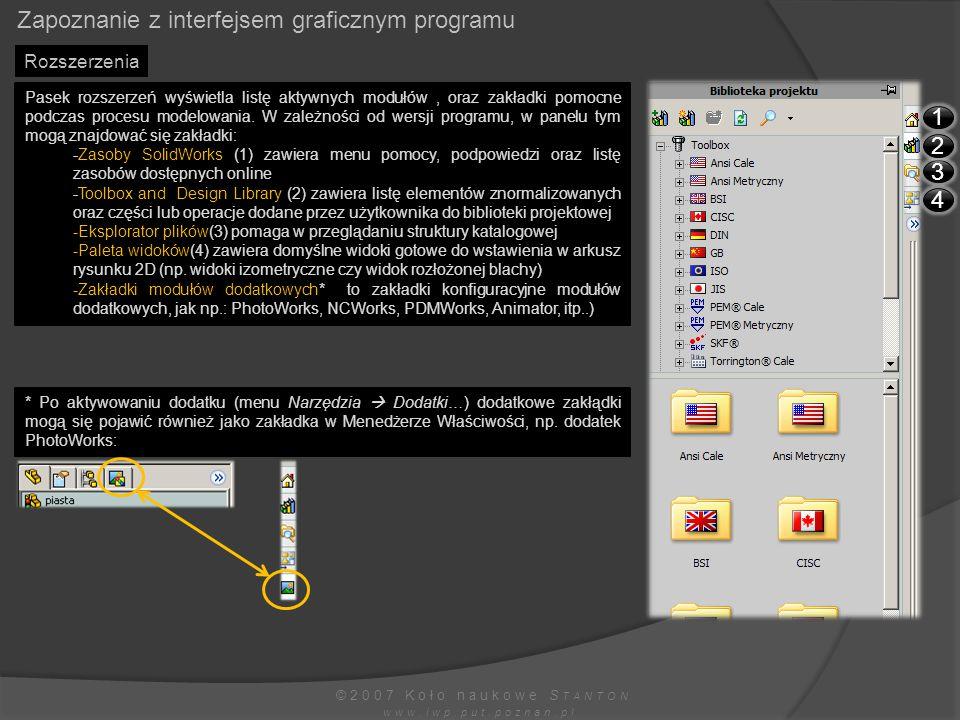 Zapoznanie z interfejsem graficznym programu ©2007 Koło naukowe S TANTON www.iwp.put.poznan.pl Rozszerzenia Pasek rozszerzeń wyświetla listę aktywnych