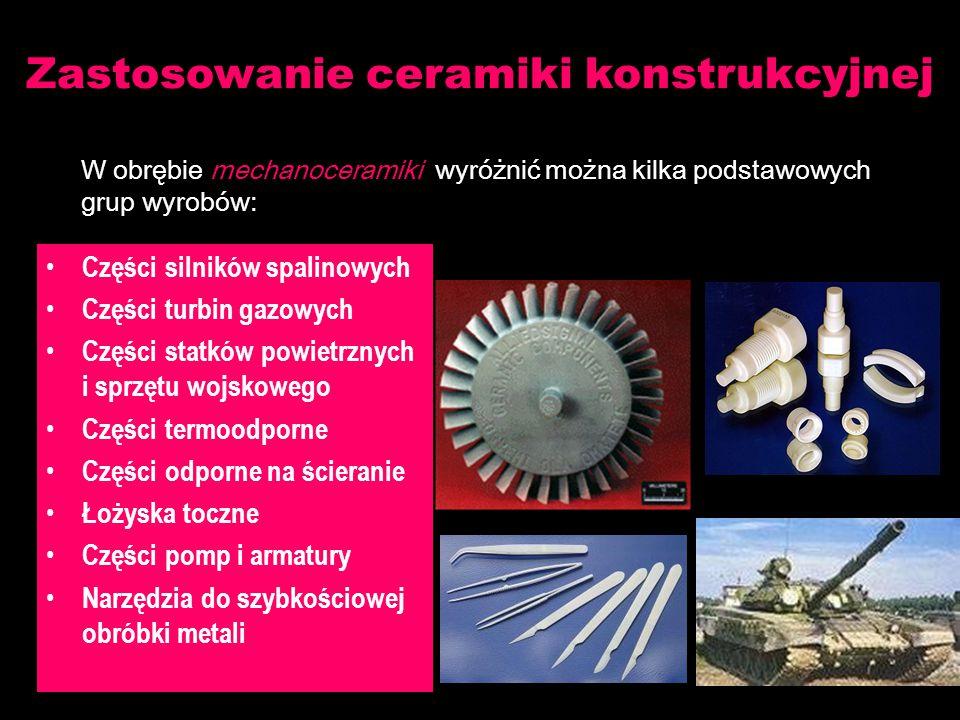 Części silników spalinowych Części turbin gazowych Części statków powietrznych i sprzętu wojskowego Części termoodporne Części odporne na ścieranie Łożyska toczne Części pomp i armatury Narzędzia do szybkościowej obróbki metali Zastosowanie ceramiki konstrukcyjnej W obrębie mechanoceramiki wyróżnić można kilka podstawowych grup wyrobów: