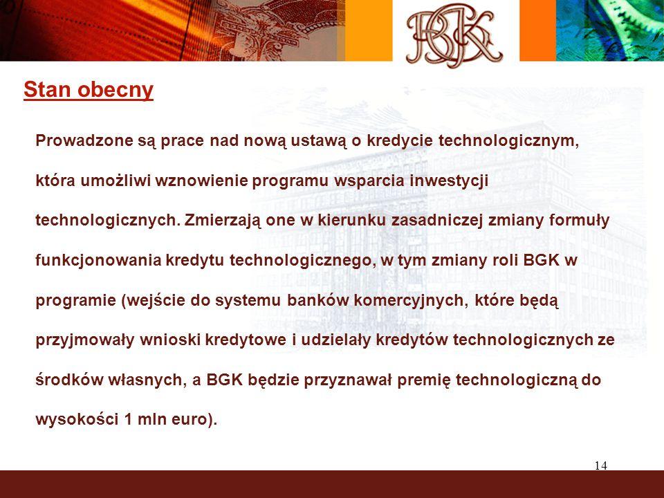 14 Stan obecny Prowadzone są prace nad nową ustawą o kredycie technologicznym, która umożliwi wznowienie programu wsparcia inwestycji technologicznych.