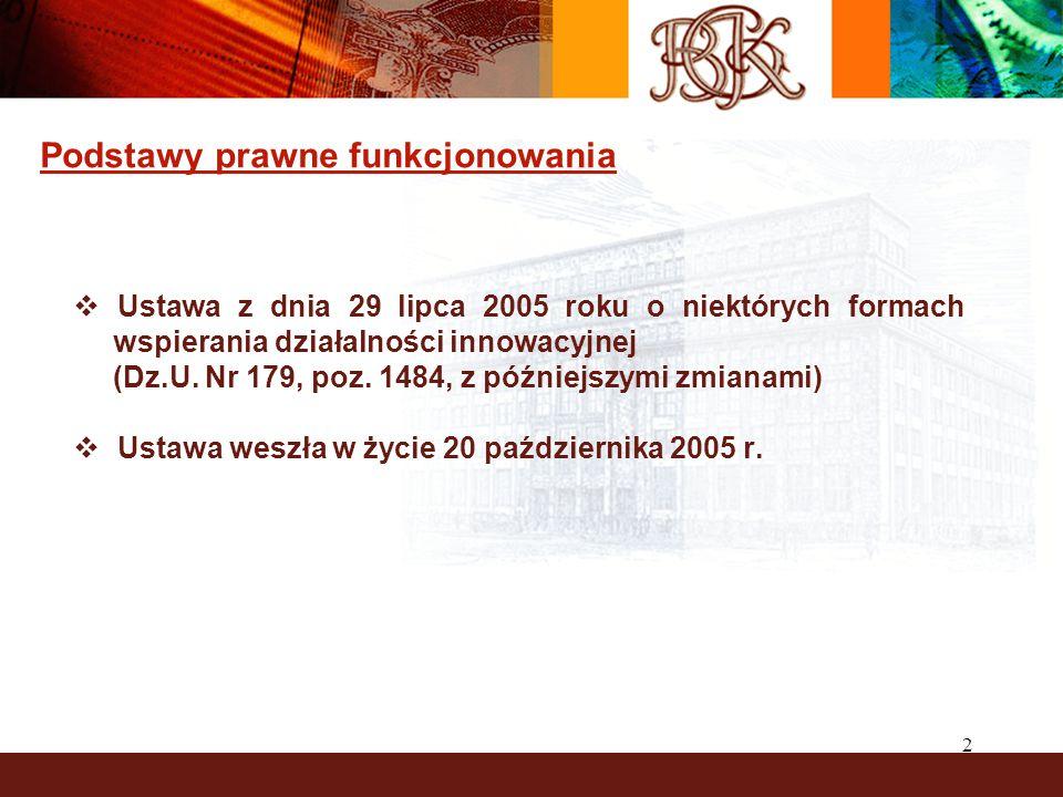 2 Podstawy prawne funkcjonowania  Ustawa z dnia 29 lipca 2005 roku o niektórych formach wspierania działalności innowacyjnej (Dz.U.