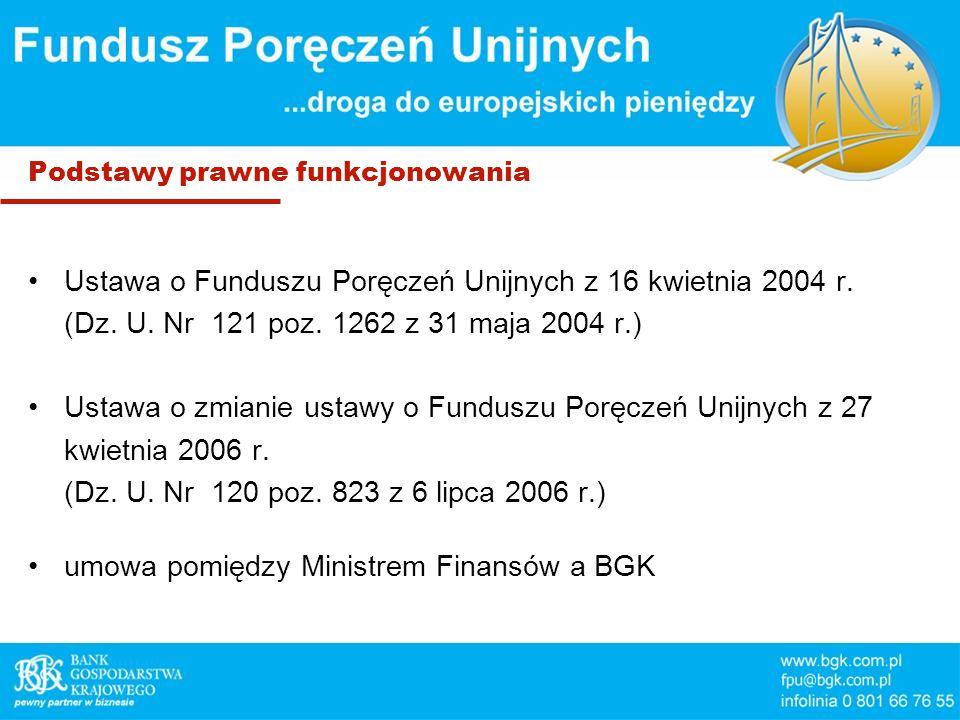 Podstawy prawne funkcjonowania Ustawa o Funduszu Poręczeń Unijnych z 16 kwietnia 2004 r.