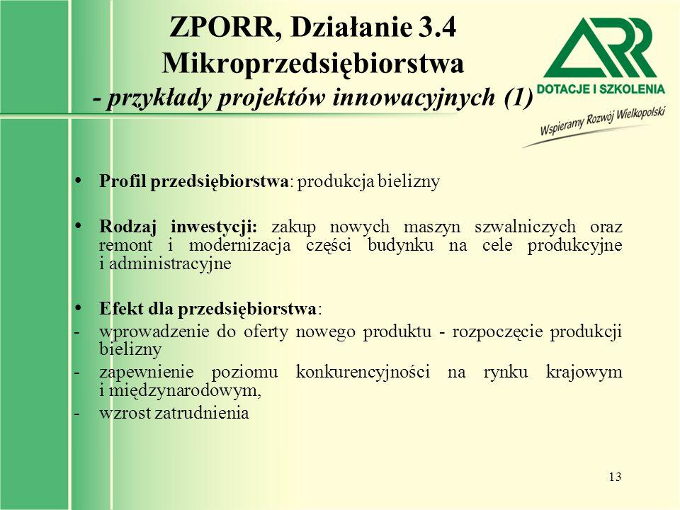 13 ZPORR, Działanie 3.4 Mikroprzedsiębiorstwa - przykłady projektów innowacyjnych (1)  Profil przedsiębiorstwa: produkcja bielizny  Rodzaj inwestycj