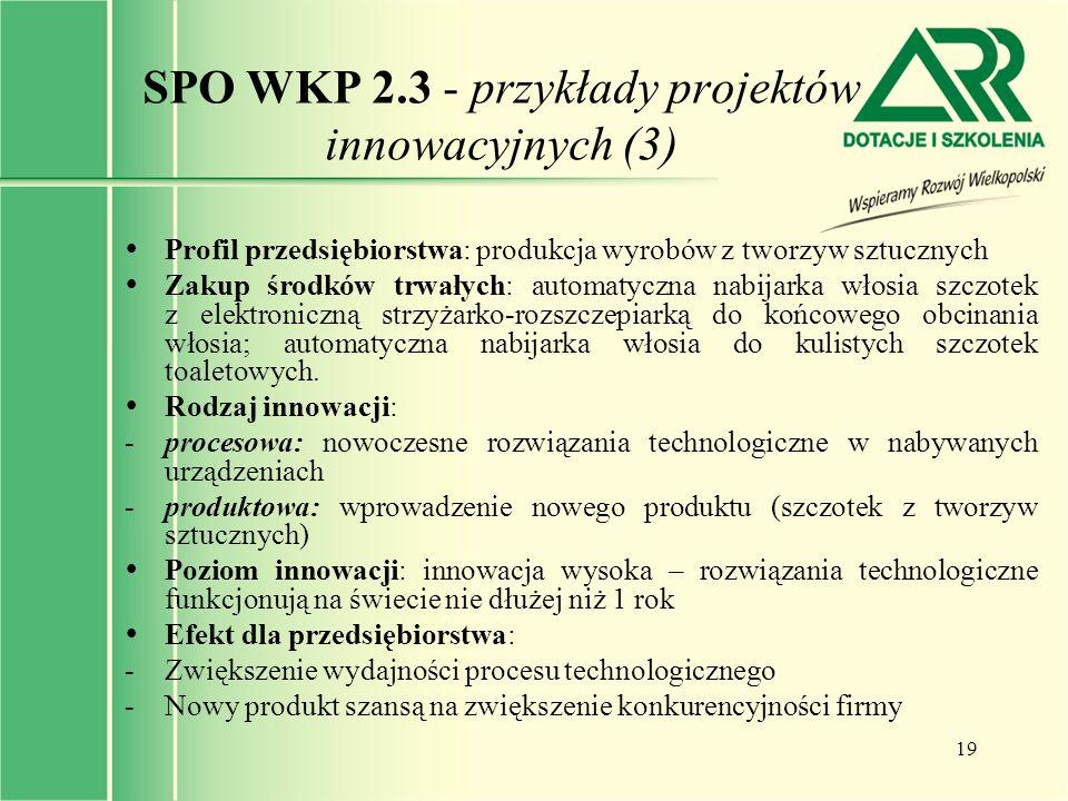 19 SPO WKP 2.3 - przykłady projektów innowacyjnych (3)  Profil przedsiębiorstwa: produkcja wyrobów z tworzyw sztucznych  Zakup środków trwałych: aut