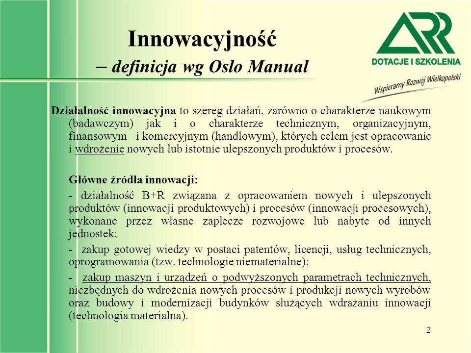 3 Innowacyjność – definicja wg RIS Innowacyjność: zdolność do tworzenia i wdrażania innowacji oraz faktyczna umiejętność wprowadzania nowych i zmodernizowanych wyrobów, procesów technologicznych lub organizacyjno-technicznych.