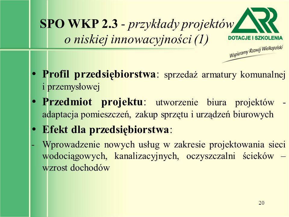 20 SPO WKP 2.3 - przykłady projektów o niskiej innowacyjności (1)  Profil przedsiębiorstwa: sprzedaż armatury komunalnej i przemysłowej  Przedmiot p
