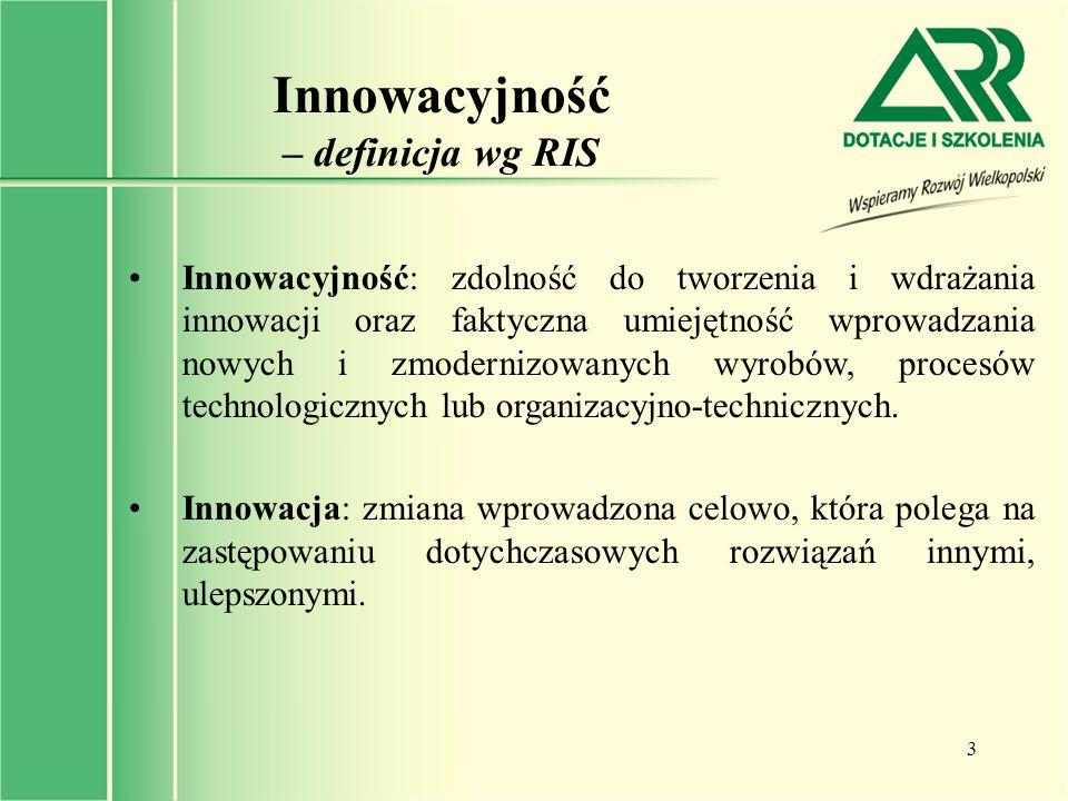 3 Innowacyjność – definicja wg RIS Innowacyjność: zdolność do tworzenia i wdrażania innowacji oraz faktyczna umiejętność wprowadzania nowych i zmodern