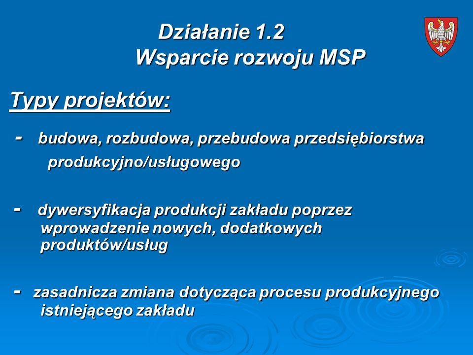 Typy projektów: - budowa, rozbudowa, przebudowa przedsiębiorstwa - budowa, rozbudowa, przebudowa przedsiębiorstwa produkcyjno/usługowego produkcyjno/usługowego - dywersyfikacja produkcji zakładu poprzez wprowadzenie nowych, dodatkowych produktów/usług - dywersyfikacja produkcji zakładu poprzez wprowadzenie nowych, dodatkowych produktów/usług - zasadnicza zmiana dotycząca procesu produkcyjnego istniejącego zakładu - zasadnicza zmiana dotycząca procesu produkcyjnego istniejącego zakładu Działanie 1.2 Wsparcie rozwoju MSP