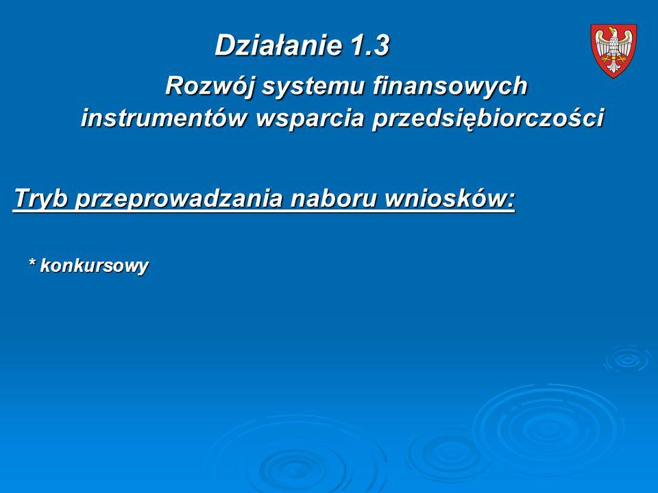 Tryb przeprowadzania naboru wniosków: * konkursowy * konkursowy Działanie 1.3 Rozwój systemu finansowych instrumentów wsparcia przedsiębiorczości