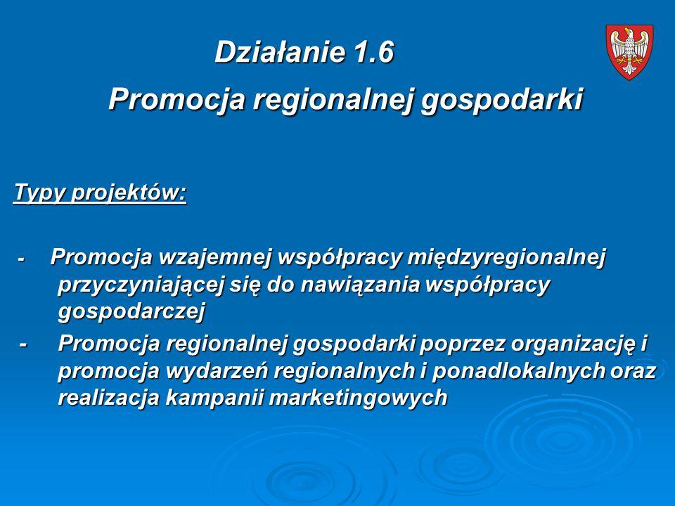 Typy projektów: - Promocja wzajemnej współpracy międzyregionalnej przyczyniającej się do nawiązania współpracy gospodarczej - Promocja wzajemnej współpracy międzyregionalnej przyczyniającej się do nawiązania współpracy gospodarczej - Promocja regionalnej gospodarki poprzez organizację i promocja wydarzeń regionalnych i ponadlokalnych oraz realizacja kampanii marketingowych - Promocja regionalnej gospodarki poprzez organizację i promocja wydarzeń regionalnych i ponadlokalnych oraz realizacja kampanii marketingowych Działanie 1.6 Promocja regionalnej gospodarki